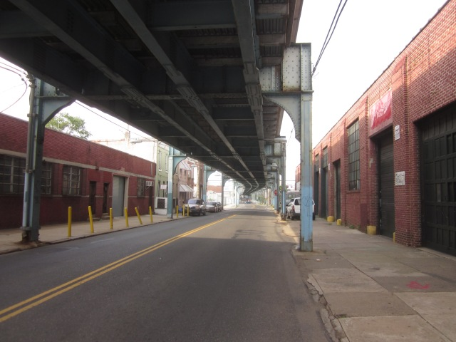 Looking north on Front Street, underneath the El