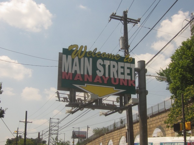 Famous sign announcing Main Street in Manayunk, which branches off from Ridge Avenue near the Schuylkill waterfront, north of East Falls