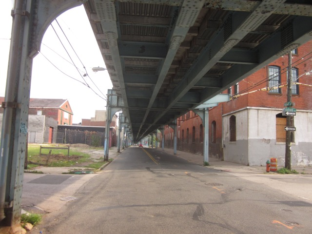Underneath the El, looking south on Front Street