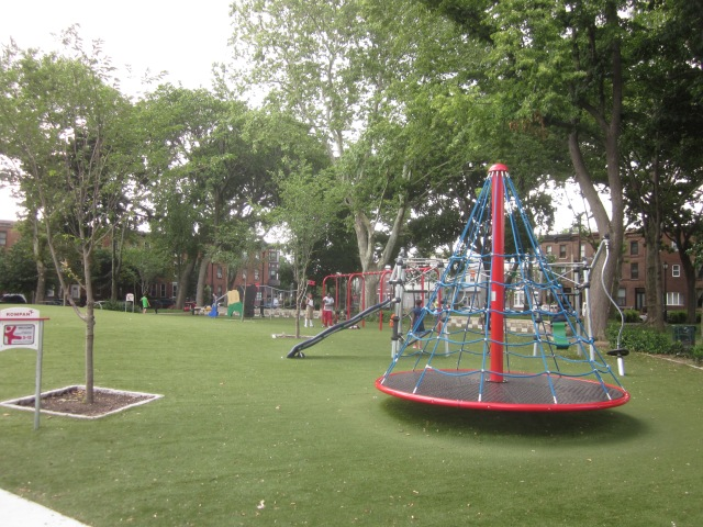 Looking west towards the play area