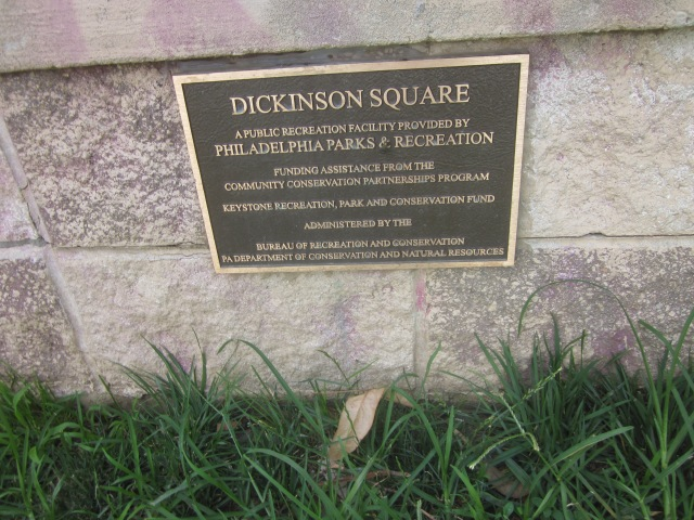 Plaque in Dickinson Square Park