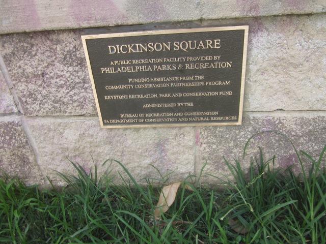 Plaque in Dickinson Square Park