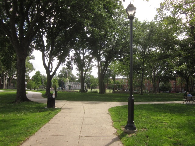 Looking into the park from the northeast corner, at Moyamensing Avenue and Tasker Street