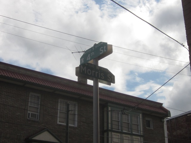 Street signs at Fourth and Morris Streets