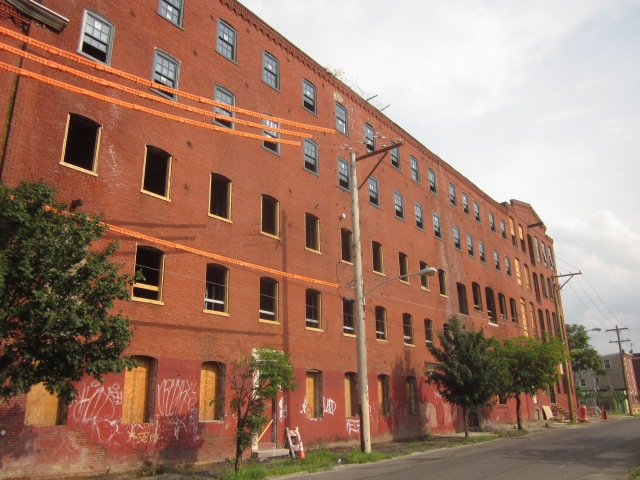 Facade of Oxford Mills on Howard Street