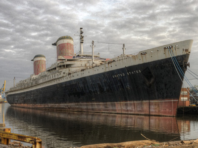 S.S. United States, docked on the Pennsport waterfront, awaits renovation (courtesy of the S.S. United States Conservancy)