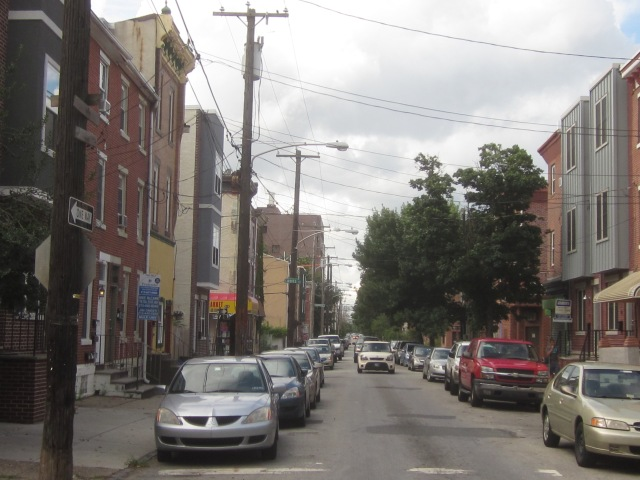Looking north up Fourth Street, towards Fabric Row, in Queen Village, and Center City