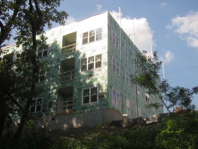 New apartments, under construction, adjacent to the Ivy Ridge Train Station in Roxborough, as seen from the Manayunk towpath