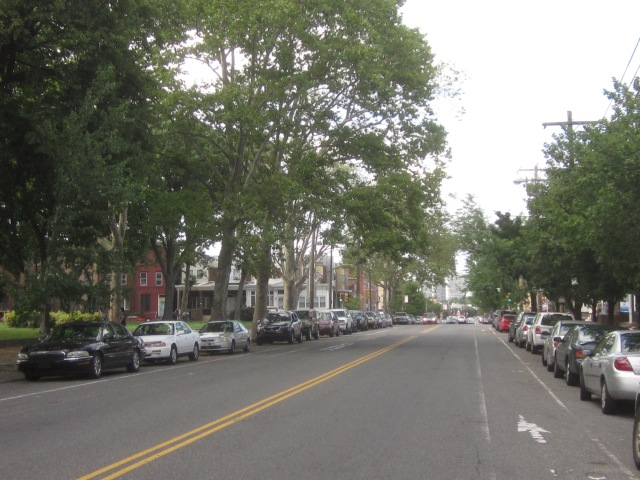 Looking north on Moyamensing, towards Society Hill