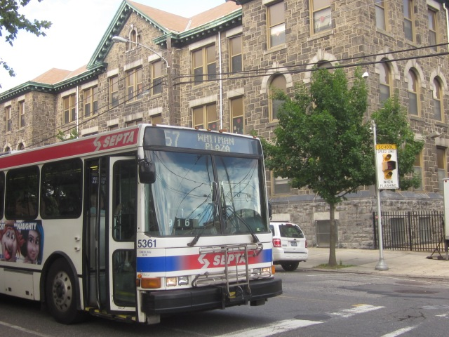 Route 57 bus, coming from Center City en route to Whitman Plaza Shopping Center