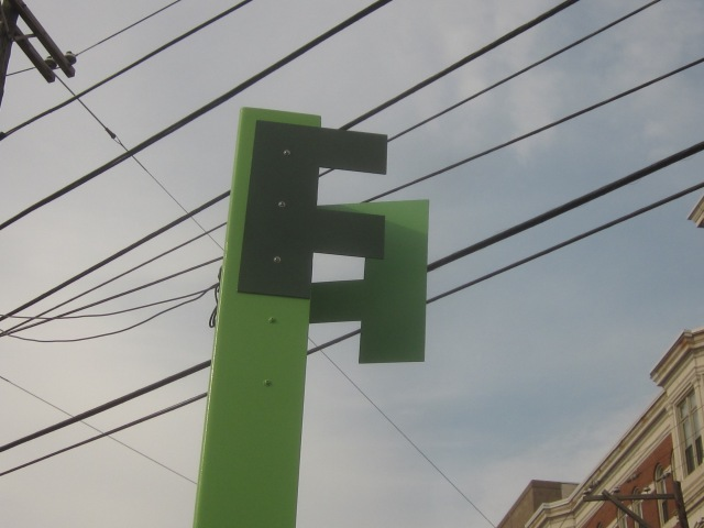 Decorative signs along Frankford Avenue
