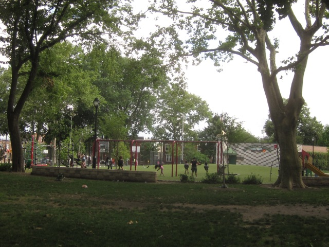 Looking south towards the play area and the Parsons Center
