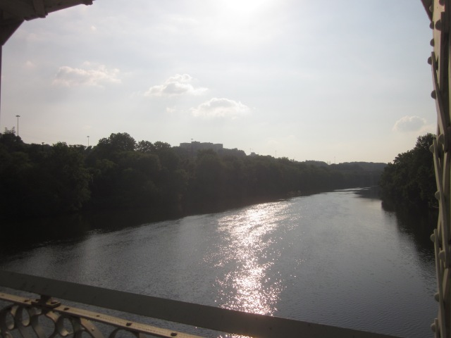 Looking north on the Schuylkill River from the Falls Bridge