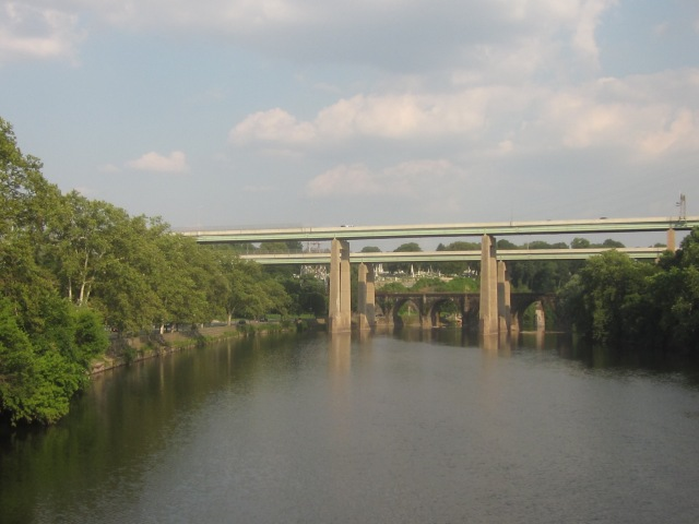 Looking south from the Falls Bridge, towards Fairmount Park, Laurel Hill Cemetery, and the Roosevelt Expressway Bridges