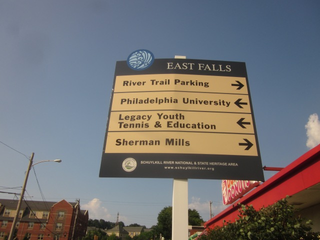 Sign at Kelly Drive and Calumet Street announces East Falls landmarks