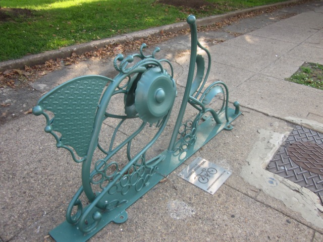 Artistic bike rack on Ridge Avenue