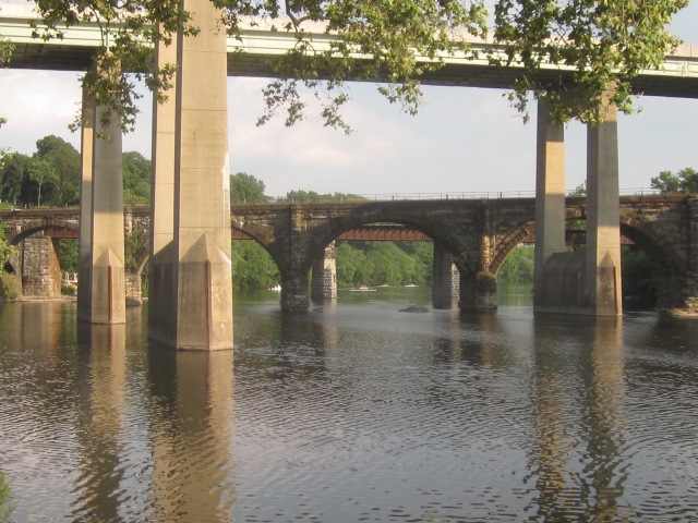 Rowers can be seen in the distance on the Schuylkill River
