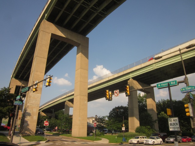 Looking up at the Roosevelt Expressway Bridges that lead into I-76 and City Avenue over the Schuylkill River