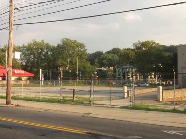 Future Ridge Flats site, seen from Ridge Avenue, with Falls Bridge visible in the background