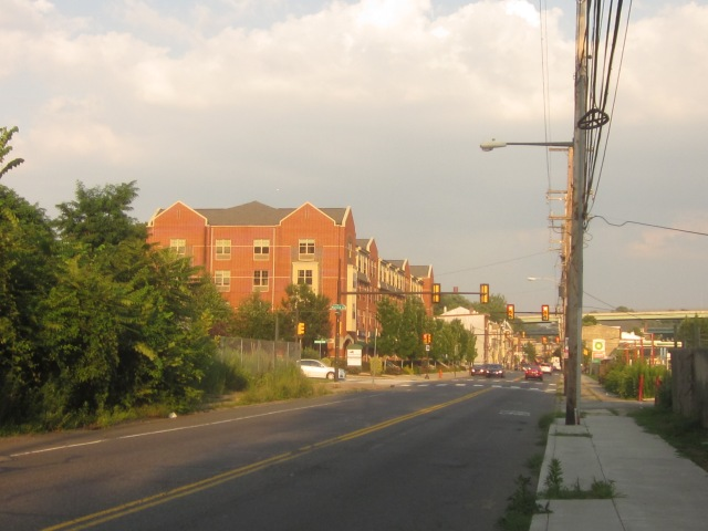 Looking south on Ridge Avenue shows Falls Ridge and future Ridge Flats site across the street