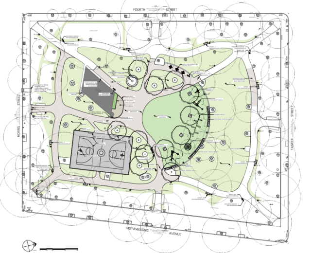 Rendering of Dickinson Square Park master plan