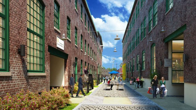 Rendering of courtyard along Hope Street