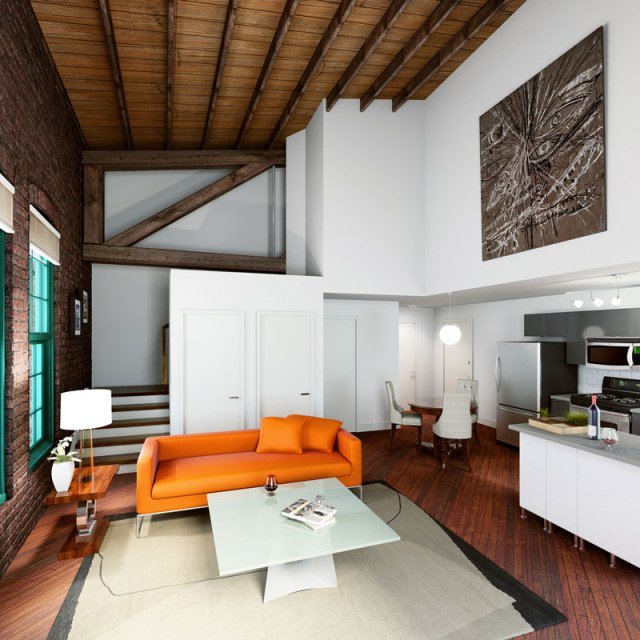 Rendering of a bi-level loft apartment