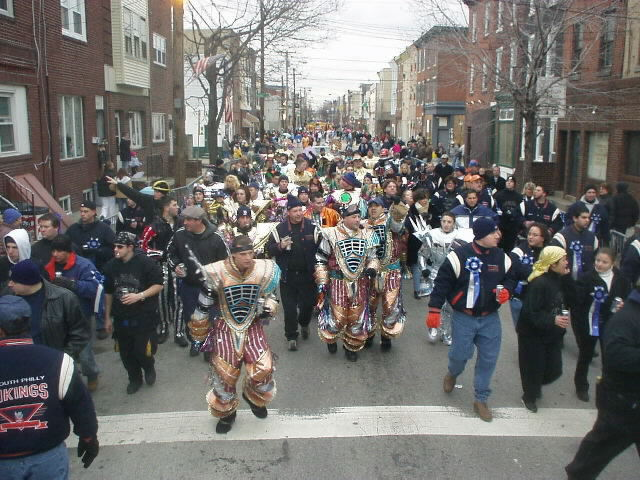 "Mummers practicing on ""2 Street"" (courtesy of South Philly Vikings Mummers Club)"