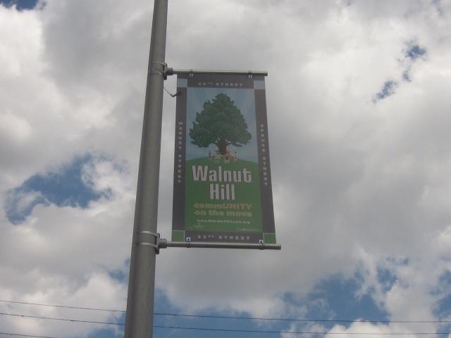 Walnut Hill banner on Walnut Street