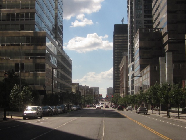 Looking west on Market Street, towards University City