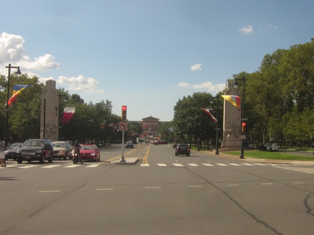 Looking west, down The Parkway, towards the Philadelphia Museum of Art