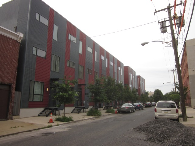 Modern townhouses across Tulip Street from Albert J. Reach baseball factory