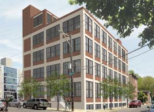 rendering of renovated albert j. reach baseball factory as apartments