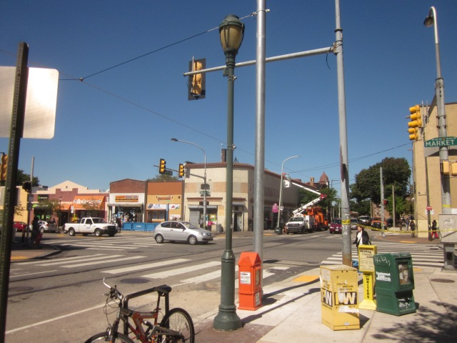 Intersection at 40th and Market Streets, entrance to Market/Frankford line station is visible