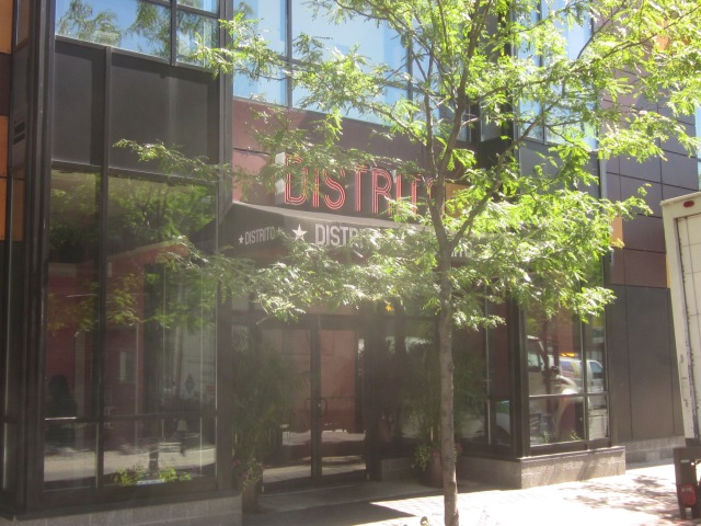 Entrance to Distrito restaurant, in The Hub, on 40th Street
