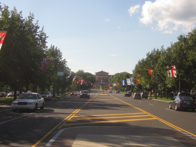 Looking west down The Parkway, towards the Philadelphia Museum of Art