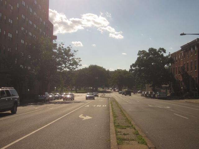Looking west down Spring Garden Street, towards Eakins Oval and the Philadelphia Museum of Art
