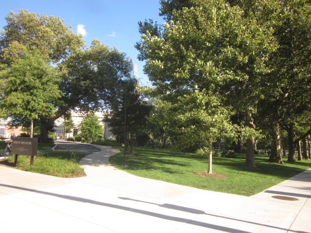 Looking at Rodin Museum and grounds, from Pennsylvania Avenue