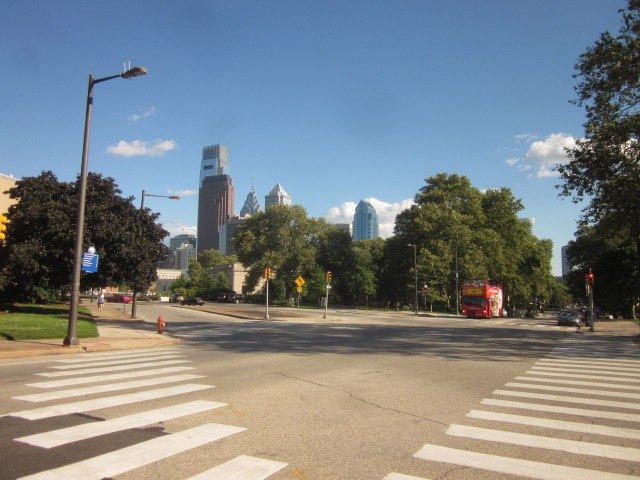 Looking towards the Rodin Museum and skyline, from 22nd Street and Pennsylvania Avenue
