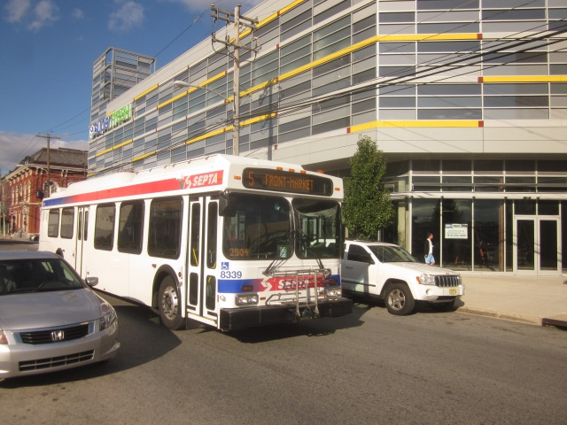 Route 5 bus passes by The Piazza and near Liberty Square