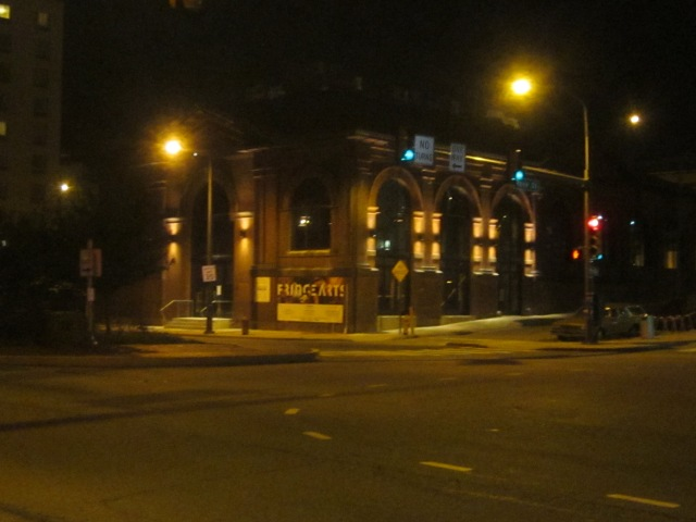 The FringeArts headquarters at night