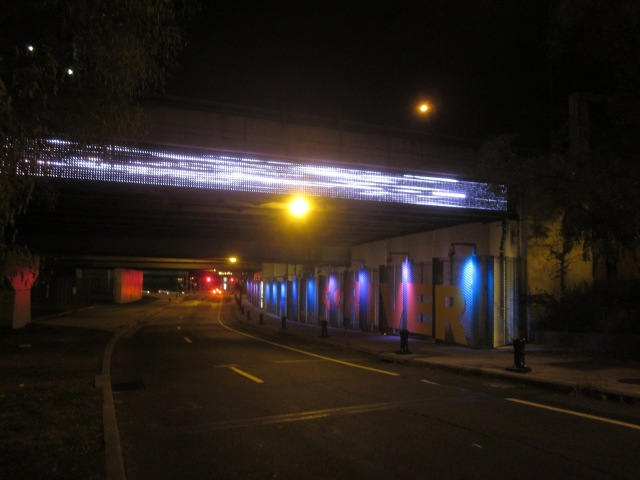 "Race Street Connector, with ""Rivercam"" screen, pointing west towards the Delaware River"