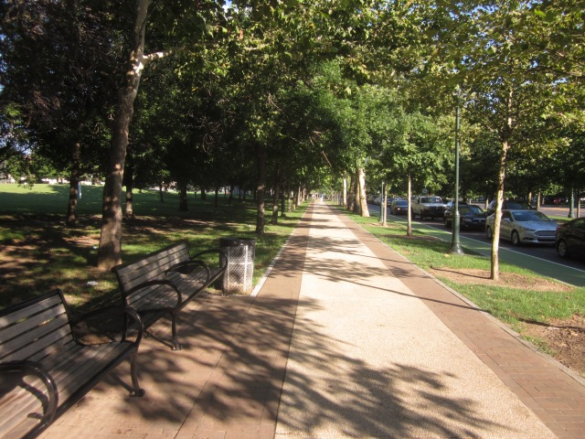 Recently renovated sidewalks along the 2200 block of The Parkway