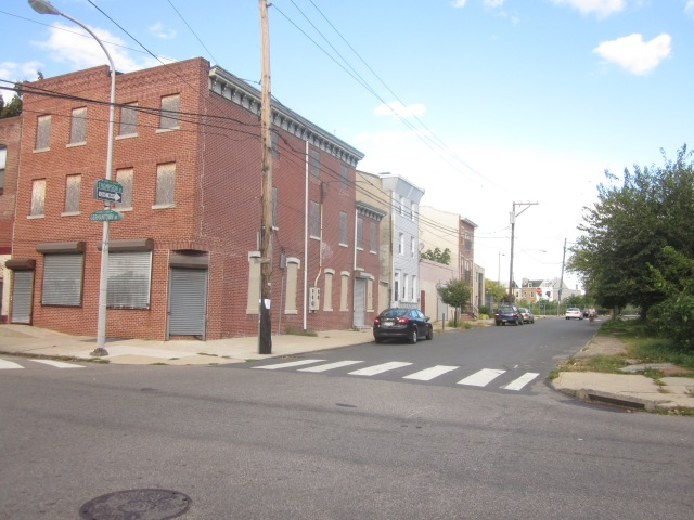 Looking east down Thompson Street, from Germantown Avenue, towards American Street and the Soko Lofts site