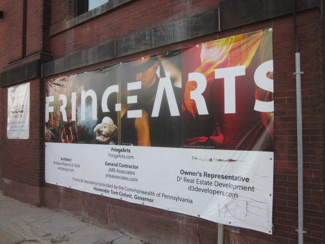 Sign announcing FringeArts' new home