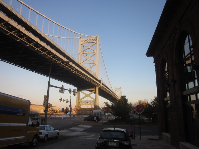 View of the Ben Franklin Bridge from where the FringeArts' plaza will be