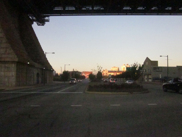 Looking north up Delaware Avenue and underneath the Ben Franklin Bridge