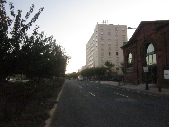 Looking south down Delaware Avenue, with the Comfort Inn next to the FringeArts headquarters