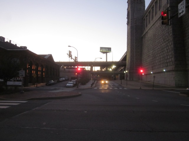 Looking west on Race Street, towards the Race Street Connector and Old City