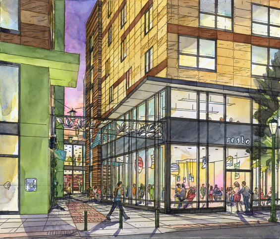 Rendering of Hub II, at the ground level, shows alleyway imbetween the buildings